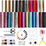 25 PCS A5 Size Faux Leather Sheets, 5 Styles Synthetic Leather Sheets (Super Shiny& Glitter& Pearlized& Metallic& Leopard Pri