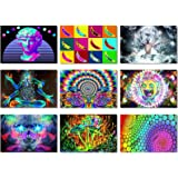 9X Fabric Poster Psychedelic Trippy Colorful Trippy Surreal Abstract Astral Digital Wall Art Prints 20x13 (50x33cm)