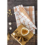 DC HOME 100% Cotton Kitchen Tea Towels Set of 5 (50 x 70 cm), Orange, Blue, Grey, Red and Lilac Tea Towels, Fast Drying & Ult