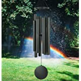 """Black Wind Chimes Outdoors Large Deep Tone,38"""" Memorial Wind Chimes for Outside & 8 Tuned Tubes, Sympathy Wind Chimes Gifts f"""