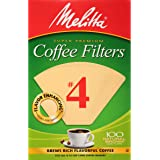 Melitta Natural Brown #4 Cone Coffee Filters 100 Count, (Pack of 1)