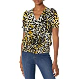Calvin Klein Women's Printed Short Sleeve V Neck Blouse with Smocking