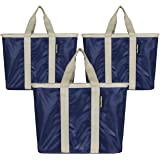 CleverMade SnapBasket Reusable Grocery Shopping Bags with Reinforced Bottom and Zippered Storage Pocket, Collapsible Durable