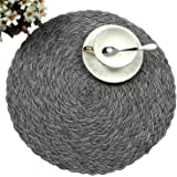 Topotdor Round Placemats Heat-Resistant Stain Resistant Anti-Skid Washable Polyproplene Table Mats Placemats (Braided-Gray, S