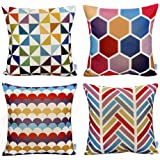 WOMHOPE 4 Pack - 17 x 17 Inch Colorfull Stripe Vintage Style Cotton Linen Square Throw Pillow Case Decorative Cushion Cover P