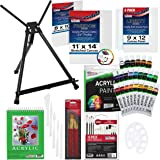 U.S Art Supply 60-Piece Deluxe Acrylic Painting Set with Aluminum Tabletop Easel, 24 Acrylic Colors, Acrylic Painting Pad, St