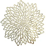 (10, Round Gold Leaf) - Occasions 10 Pack Pressed Vinyl Metallic Placemats/Charger/Wedding Accent Centrepiece (10 pcs, Round