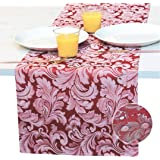 Red Table Runner 48 inch, Burgundy Coffee Table Runner, Cranberry White Jacquard Waterproof Dresser Scarf, Fall Luxury Dining