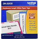 """Brother Genuine, DK-2205 Continuous Paper Label Roll, Cut-to-Length Label, 2.4"""" x 100 Feet, (1) Roll Per Box"""