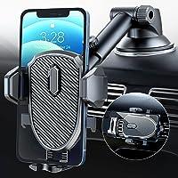車載ホルダー スマホ車載ホルダー 360度 伸縮アーム ワンタッチ 粘着ゲル吸盤&エアコン吹き出し口式兼用 スマホスタン…