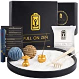 Full on Zen Meditation Decor Mini Zen Garden for Desk Kit - Japanese Zen Garden Sand Tray Therapy with Desk Zen Garden Access