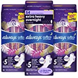 Always Radiant Feminine Pads for Women, Size 5, 54 Count, Extra Heavy Overnight, with Wings, Scented (18 Count, Pack of 3-54