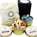 Ornite Scented Crystal Candles Gift Set with Amethyst, Rose Quartz & Dry Flowers | Sea Salt Sage & English Pear 6.4Oz 100% So