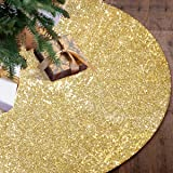 """yuboo Gold Christmas Tree Skirt, 48"""" Sequin Double Layers Christmas Decorations for Xmas Party and Wedding"""