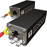 Ethernet Surge Protector PoE+ Gigabit 1000Mbs - LAN Network Thunder Lighting Surge Suppressor/Arrester Protection 2 Pack