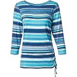 RUBY RD. Womens 95153O8 Ballet-nk Autumn Stripes Print Knit Top, Side Ruching Detail, 3/4 SLVS 3/4 Sleeve T-Shirt