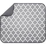 "S&T Microfiber Dish Drying Mat 16"" x 18"" White Trellis"