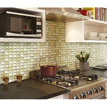 【 Dream Sticker 】モザイクタイルシール キッチン 洗面所 トイレの模様替えに最適のDIY 壁紙デコレーション ALT-14 ベージュ Beige 【 自作アートインテリア / ウォールステッカー 】貼り方説明書付属