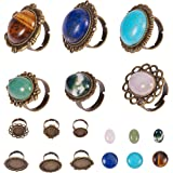 SUNNYCLUE 6pcs Antique Bronze Adjustable Blank Flower Cabochon Ring Settings with 6pcs Round Oval 20mm/13x18mm Gemstone Caboc