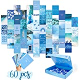 WITIBO Collage Kit for Wall Aesthetic 60 Pictures - Dreamy Blue Dorm Room Decor Collage Kit for Wall | Soft Blue Collage Phot