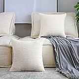 "HOME BRILLIANT Solid Decorative Accent Pillow Case Striped Corduroy Plush Velvet Cushion Cover for Sofa 18"" X 18"", Set of 2 C"