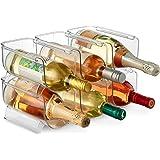 Set of 6 Wine and Bottle Storage Holder Rack, Stackable Plastic Wine Rack Organizer for Pantry, Kitchen, Fridge, Ideal Storag