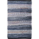 100% Cotton Rag Rug 24x36 - Multicolor Denim Chindi Rug - Hand Woven & Reversible for Living Room Kitchen Entryway Rug - Mult