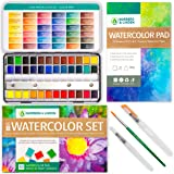 Norberg & Linden LG40 Watercolor Paint Set - 36 Colors in Half Pans, 12-Sheet Paper Pad, 2 Refillable Water Brushes and an Ar