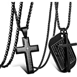 Jstyle 2Pcs Stainless Steel Black Dog Tag Cross Necklace Pendant Necklace for Men Lord's Prayer Necklace Military Tag with Ro