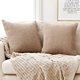 Deconovo Pack of 2 Cushion Covers Solid Color Stripe Pattern Throw Pillow Cover Soft Touch Corduroy Pillow Cases for Couch So