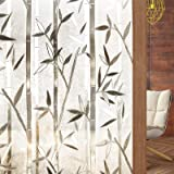 Rabbitgoo Frosted Window Film Privacy Decorative Static Cling Vinyl Glass Film Bamboo Pattern, 44.5 X 200 Centimeters, (17.5