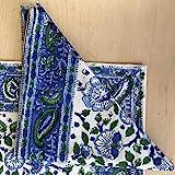 "Handmade 100% Cotton Floral Block Print Napkins Table Linen Blue Green 19"" x 19"""