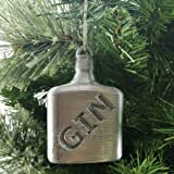 Gin Bottle Shaped Christmas Tree Bauble Silver