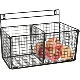 MyGift Wall Mounted Storage Rack 2 Compartment Wire Organizer Basket Black