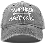 DALIX Camp Hair Don't Care Dad Hat Washed Cotton Cap Pigment Dyed