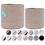 2-Pack Stylish OrganiHaus Cotton Rope Planter Baskets for Indoor Plants | Storage Baskets for Crafts, Toys, Towels and More.