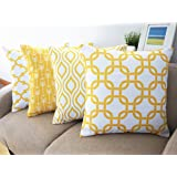 Howarmer Canvas Cotton Throw Pillows Cover for Couch Set of 4 Lemon Yellow Accent Pattern 18 X 18-inch