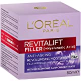 L'Oréal Paris Revitalift Filler Revolumising Anti-Ageing Day Moisturiser, with Hyaluronic Acid, Dermatologically Tested, 50ml