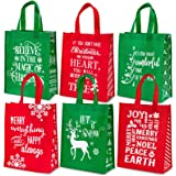 Whaline Christmas Non-Woven Gift Bags Christmas Tote Bags with Handles Red Green Snowflakes Xmas Tree Grocery Bags Reusable P