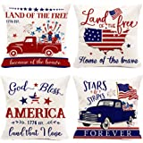 Hexagram July 4th Pillow Covers 18x18 Set of 4, American Flag Patriotic Pillows Decorative Independence Day Truck Throw Cusio