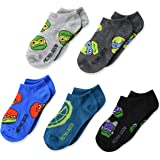 Nickelodeon Boys' 5 Pack No Show, Assorted Dark, Fits Sock Size 6-8.5 Fits Shoe Size 7.5-3.5