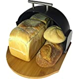 Bread Bin Modern | Compact Rolltop with Bamboo Cutting Base | 2-in-1 Bread Box with Cutting Board | Roll Top Bread Storage by