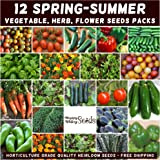 Mixed Spring Summer 800+ Heirloom Seeds Vegetable HERB Flower Garden 12 pks Bulk