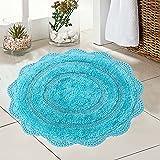 Chardin Home - 100% Pure Cotton - Crochet Round Bath Rug, 24'' Inch Round with Latex Spray Non-Skid Backing, Aqua