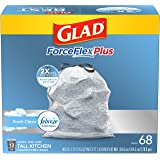 Glad ForceFlexPlus Tall Kitchen Drawstring Trash Bags - Febreze Fresh Clean- 13 Gallon - 68 Count