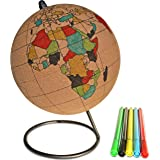 Globe Trekkers - Small Color-in Cork Globe with 5 Different Colored Markers & Durable Steel Base | Great for Mapping Travels
