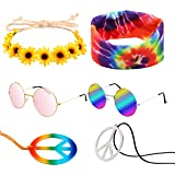 R HORSE 7 Pcs Hippie Costume Set Peace Sign Necklaces Flower Headband Hippie Sunglasses Tie Dye Headband 60s Hippie Accessori