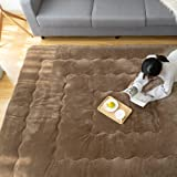 こたつ敷布団 正方形 190×190cm あったか 6層 フランネル生地 マイクロファイバー 滑り止め付き 床暖房対応 防音 こたつ敷き布団 無地・ブラウン