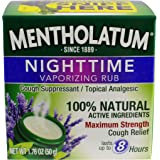 Mentholatum Nighttime Vaporizing Rub with soothing Lavender essence, 1.76 oz. (50 g) - 100% Natural Active Ingredients for Ma