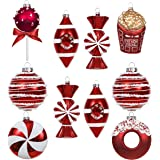 Valery Madelyn 10ct Sweet Candy Glass Ball Ornaments,Christmas Bauble Tree Hanging Ornaments Decoration Red and White Themed